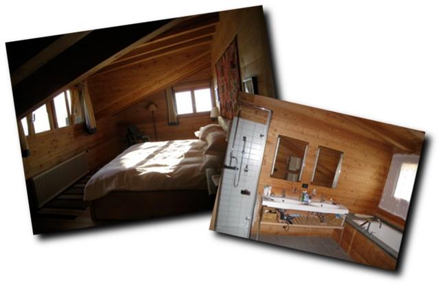 Le Ruisseau chalet's first floor sleeping room and bath room