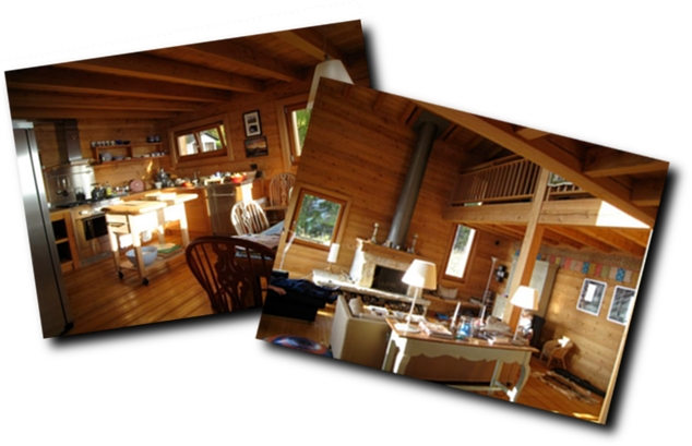 Le Ruisseau chalet's ground floor kitchen and living room