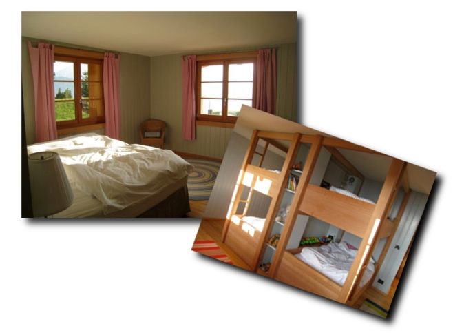 Le Ruisseau chalet's lower ground sleeping rooms